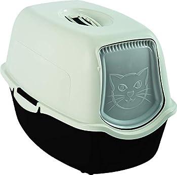 Rotho Bailey Maison de toilette à litière pour chat , Plastique (PP) sans BPA, en Noir et Blanc, 56,0 x 40,0 x 39,0 cm