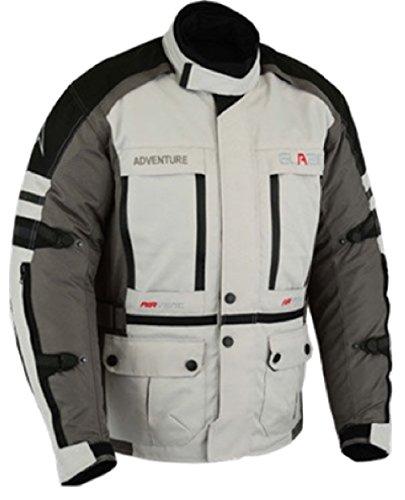 Textil Motorrad Jacke Motorradjacke Schwarz Grau (3XL)