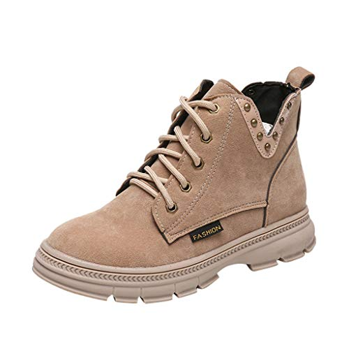 Ankle Boots for Women Low Heel Work Combat Boots Casual Lace Up Winter Snow Booties Outdoor Shoes - Limsea