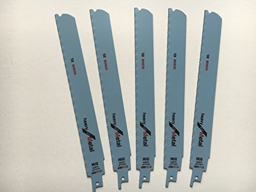Bosch S1126BEF BIM - Hojas para sierra de sable (5 unidades, 1/2', 225 x 25 x 1,1 mm, para metal)