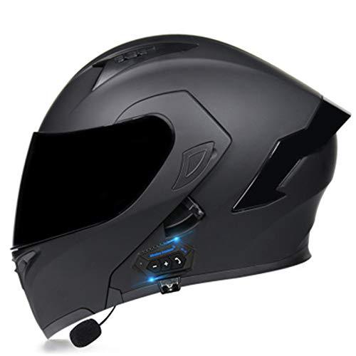 ABDOMINAL WHEEL Bluetooth Casque Moto Modulable,Flip Up Casque Moto avec Double Visière Protection de la Tête,ECE Homologué Homme Femme Casque Moto avec Fonction de Réponse Automatique H,M=55~56CM