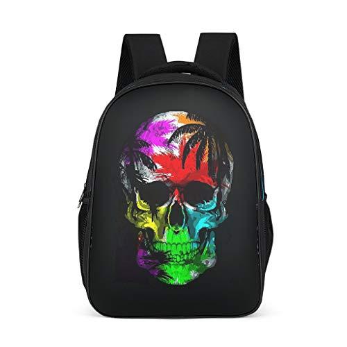 O3XEQ-8 Schädel Üei Rucksack Skull Head Rucksack Junge Auto, Schultasche Kinder Jungen - Colorful Cooler Rucksack Mädchen Jugendliche Schultasche Grey OneSize
