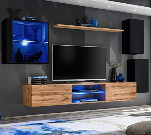 ASM SWITCH XXIII Wohnwand 250cm breit TV Ständer Display Glas Schrank PUSH-CLICK Türen LED Leuchten Wotan Eiche Schwarz Hochglanz