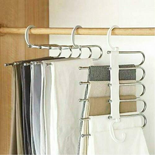 Ruluti 5 En 1 Pantalones Rack Estantes Organizador Percha Antideslizante Girar Acero Inoxidable Pant Rack Shelves Plancha para La Ropa Perchas Armario De Múltiples Funciones