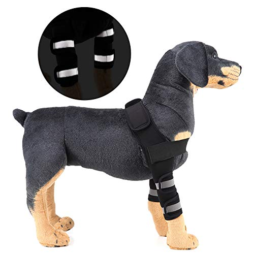SELMAI Reflective Dog Shoulder Brace Front Leg Brace Canine Elbow Protector Extra Supportive Joint Wrap Arthritis Loss of Stability Helps Wounds Healing Prevents Injuries Sprains Black M
