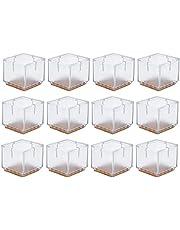 HQdeal 12 pcs Protectores de silicona patas de silla de mesa tapas de patas de goma almohadillas antideslizantes para muebles cubiertas de mesa - 30-35mm (Cuadrado)