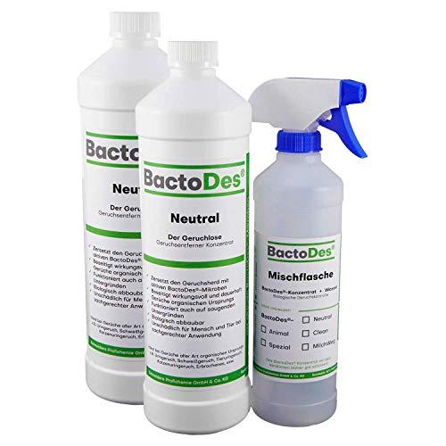 BactoDes Neutral Geruchsneutralisierer, Geruchsentferner, Geruchskiller Reiniger, Urin, Katzenurin, 2 x 1 Liter Spray