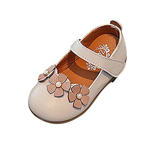 PAOLIAN Verano Zapatos para Niña Princesa Calzado Zapatos de Niñito Antideslizante Cuero Zapatos de Primeros Encantador Suela Blanda Pajarita Sandalias de Vestir Bailarinas Mocasines (26, Blanco)