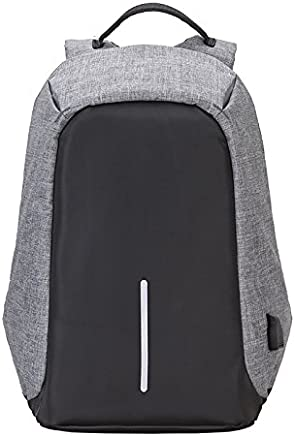 MUFUBU Fabric Anti Theft Water Resistant with 2.0 USB Charging Laptop Backpack (Grey)
