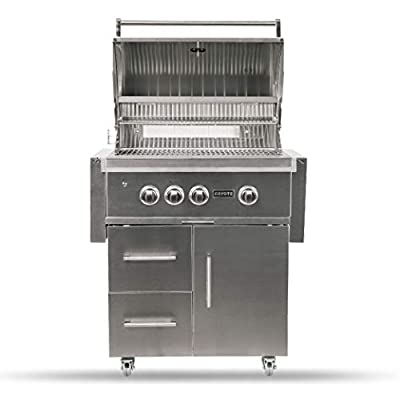Coyote S-Series Natural Gas Grill, 30-in. 3-Burner Freestanding Grill with RapidSear Infrared Burner & Rotisserie - C2SL30NG-FS