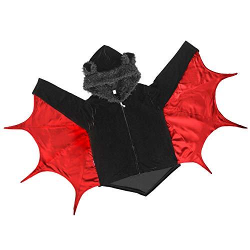 papapanda Kids Bat Kostuum Kinderen Hooded Jas Halloween Cape Zwart Rood Carnaval Party Jurk, 152, Black, Red