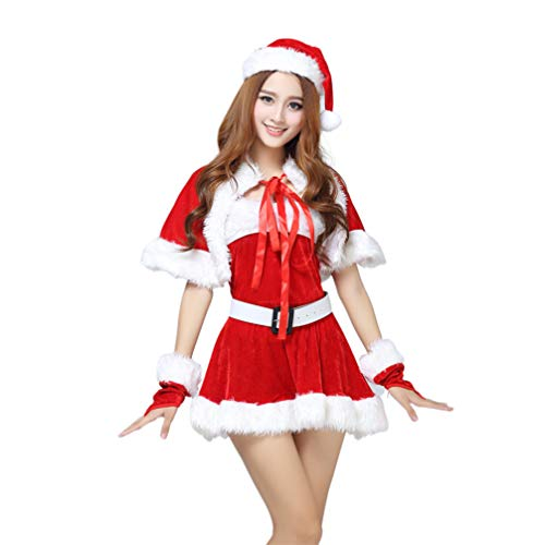 FENICAL traje de santa claus para mujer vestido de navidad traje de disfraces con sombrero cinturón guantes y chal para navidad festivo año nuevo cosplay accesorio