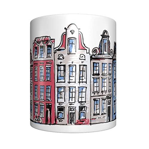 Amsterdam Mug - Taza de café reutilizable resistente al calor - Tazas de café de cerámica de 325 ml para té, café, latte, capuchino y bebidas, el mejor regalo o recuerdo