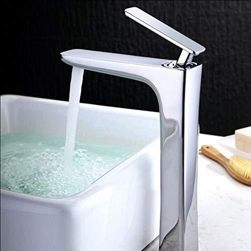 Grifo de lavabo blanco grifo de latón grifo de baño grifo de agua fría y caliente termostato grifo torneira-chrome alloy_tall,R4XZ5KHMKCYZG