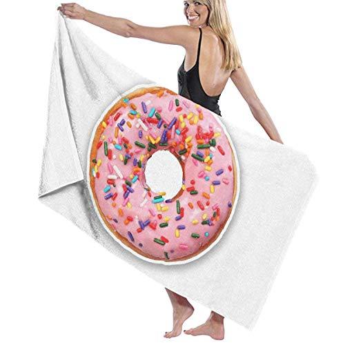 tyui7 Toalla de baño de Fresa Gigante Donut Toalla Toallas de baño de Microfibra Suave Toalla de Playa para Hombres Mujeres, 80x130 cm