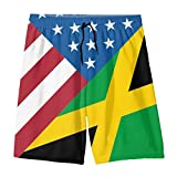 YOIGNG American Jamaican Flag Teens Swim Trunks Beach Shorts Surfing Board Quick Dry Bathing Suit White