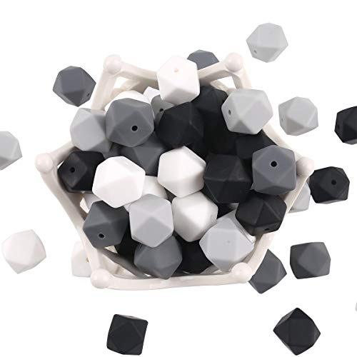 Black White Silicone Teether Beads 50pc 17mm Hexagon Teething Balls 100% Food Grade Nursing Jewelry Chewing Beads