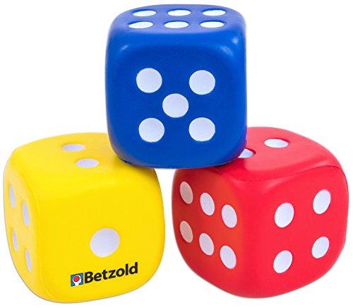 Betzold 35453 - Schaumstoff-Würfel 3 Augenwürfel rot blau gelb - Kinder Soft-Würfel weiche Schaumwürfel