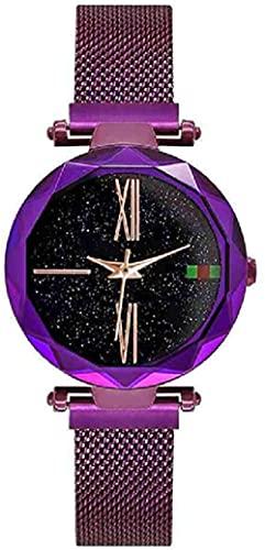JZDH Mano Reloj Reloj de Pulsera Luxury Women Watches Ladies Rose Oro Reloj Starly Sky Magnético Impermeable Mujer Reloj de Pulsera Relogiono Reloj Mujer Relojes Decorativos Casuales (Color : Morado)