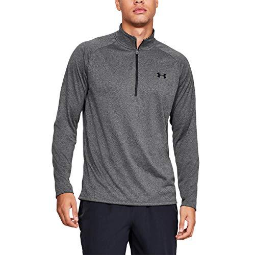 Under Armour Tech 2.0 1/2 Zip, sportliches Longsleeve, schnell trocknendes Langarmshirt für Männer Herren, Carbon Heather / Black , M