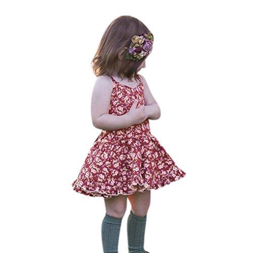 VIKITA Vestitos Bambina Principessa Stampa a Colori Sirena Casuale Abiti 2-8 Anni
