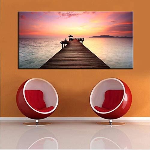 Impresiones de pintura de paisaje marino moderno en lienzo Póster de arte de pared Puente de madera Paisaje para sala de estar Decoración del hogar 20x40cm (8x16in) Sin marco