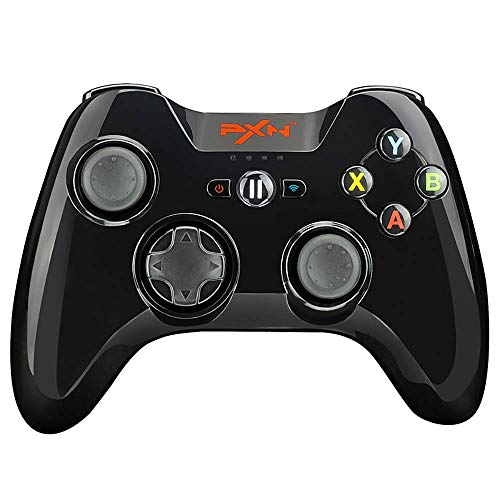 Wireless Bluetooth Gamepad PXN 6603 | Four - Axis Positioning Technology Gaming Controller | Pressure Sensitive Buttons with Phone Holder for Apple Tv, iPhone, iPad (Black)