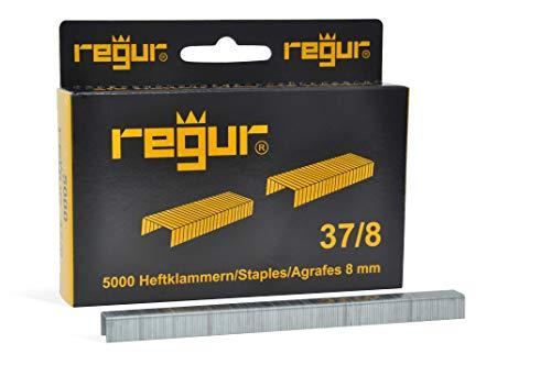 REGUR Type 37 nietjes met fijne draad verzinkt - 5.000 stuks lengte 37/8 mm - nietjes voor het bevestigen van stoffen, leer, textiel en voor handwerk en decoratie
