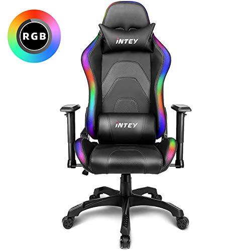 INTEY Gaming Stuhl Racing Stuhl mit LED Licht, Bürostuhl Chefsessel Schreibtischstuhl Drehstuhl Racer Gamer Stuhl PC Stuhl, mit Wippfunktion, RGB LED Streifen, 5V 2A, Belastbar bis 136 KG (Schwarz)