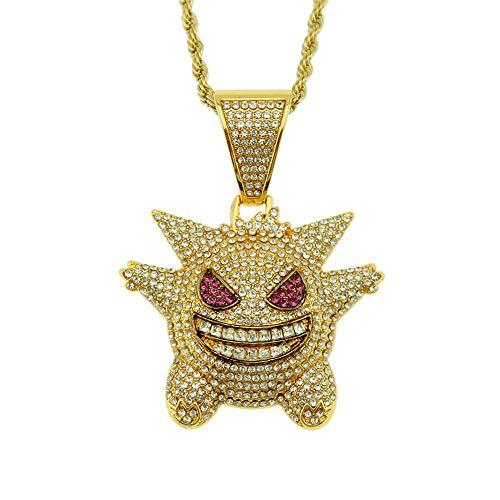 Recuerdos De La Infancia Diamante Colgante De Hip Hop Tridimensional Pokemon Geng Fantasma Colgante Hip Hop Collar Accesorios Oro