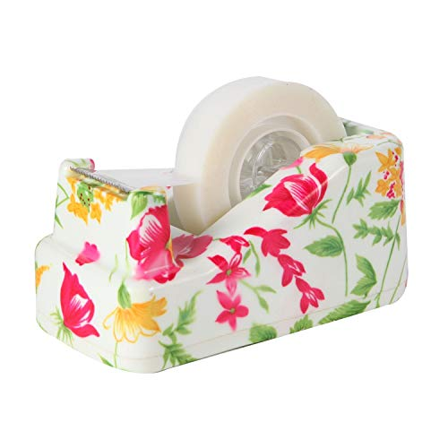 VIBRANZ-LAB Cute Tape Dispenser Desk Home Office Desk Supplies Fun Desk Accessories Floral Office Tape Dispensers Cute Office Supplies for Women Desk Weighted Non-Skid Non-Slip Base