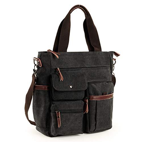 PIANYIHUO briefcaseMen Canvas Business Briefcase Versatile Casual Handbag for Men Travel Satchel,Black,