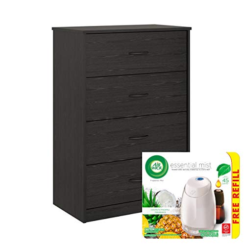 4-Drawer Chest Storage Office and Diffuser with Essential Oils Refill Bundle, Black Oak