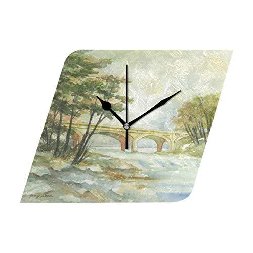 DragonSwordlinsu COOSUN gebogen brug muur klok stille niet tikken acryl Rhombus decoratieve klok voor huis/kantoor/keuken/slaapkamer/woonkamer