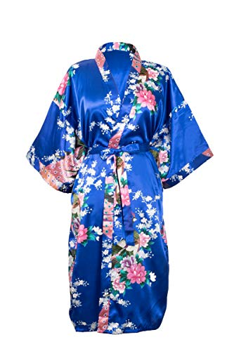 CCcollections Kimono Abito da notte - Robe Lingerie - Regalo per damigella d'onore per donna (Taglia unica, Blu Reale)