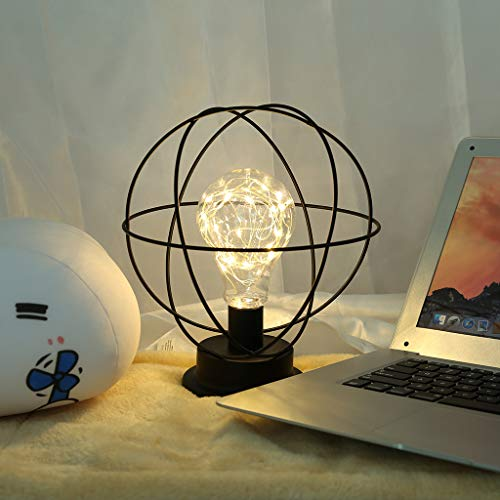 LED Vintage Industrial Metal Table Lamp - Accent Light Battery-Operated Earth-Shape Desk Lamp - Nightstand Decoration Soft Lighting Light for Living Room Bedroom Patio(Earth Black)
