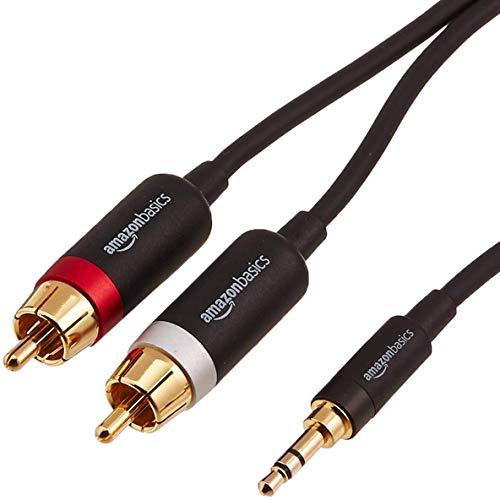 AmazonBasics - Cable adaptador (3,5 mm a 2 machos RCA, 2,44 m)