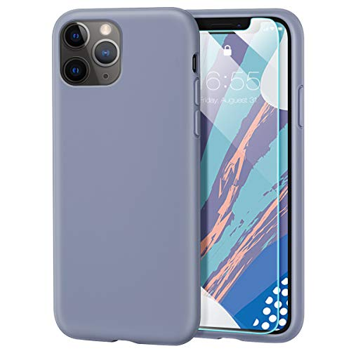 MILPROX iPhone 11 Pro Case with Screen Protector, Liquid Silicone Gel Rubber Shockproof Slim Shell with Soft Microfiber Cloth Lining Cushion Cover for iPhone 11 Pro 5.8 inch (2019)-Lavender Gray