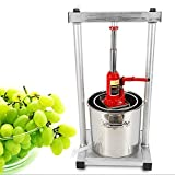 Eapmic 12L Fruit Crusher, Stainless Steel Wine Juice Press Grinder Manual Grape Pulp Apple Cider Juicers Squeezer with Hydraulic Jack