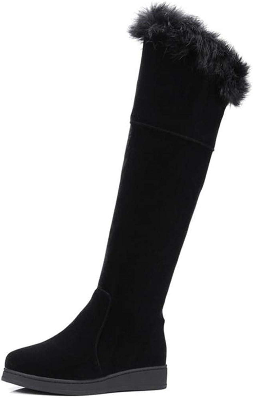 Webb Perkin Women Simple Zipper Warm Winter shoes Round Toe Flat Snow Boots Long Boot Lady Fashion Knee-high Boots