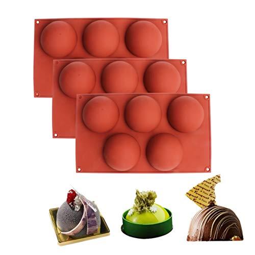 Baker Depot Backformen-Set, Kuppelform, Silikon, für Kuchendekoration, Gelee, Pudding, Süßigkeiten, Schokolade, 5 Mulden, halbrund, verschiedene Farben, 3 Stück
