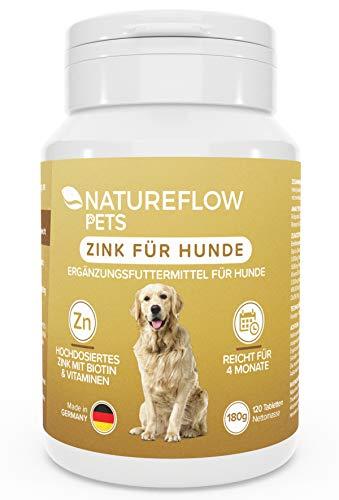 Natureflow Fellwechsel Fell Immunsystem Mittel Juckreiz Hunden Zink für Hunde Zink Hund Zink-Tabletten Nahrungsergänzung Vitamine
