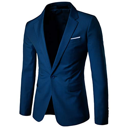 Cloudstyle Mens Suit Jacket One Button Slim Fit Sport Coat Business Daily Blazer, Blue, Large