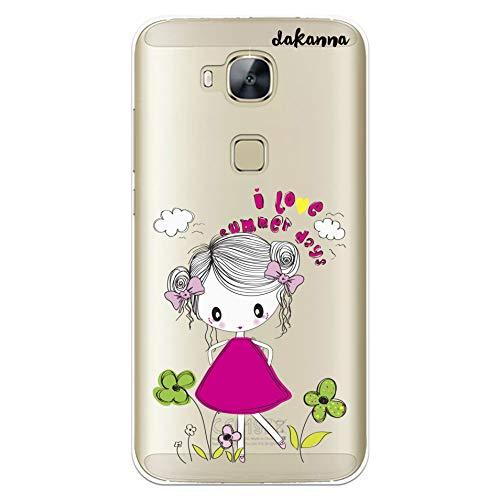 dakanna Funda para Huawei G8 - GX8 | Niña con Flores y Frase: I Love Summer Days | Carcasa de Gel Silicona Flexible | Fondo Transparente