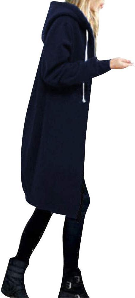Xinantime Women's Winter Plus Size Coats Zipper Open Front Mid-Length Jacket Hoodies Solid Color Sweatshirt Trendy Tops