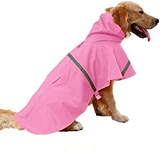 JYHY Dog Raincoat Adjustable Reflective Waterproof Lightweight Dog Rain Jacket Rain Poncho with Hood for Medium Large Dogs