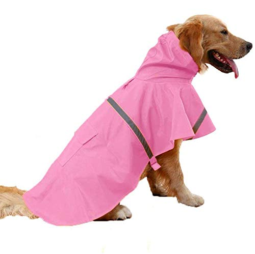 JYHY Dog Raincoat Adjustable Reflective Waterproof Lightweight Dog Rain Jacket Rain Poncho with Hood for Medium Large Dogs