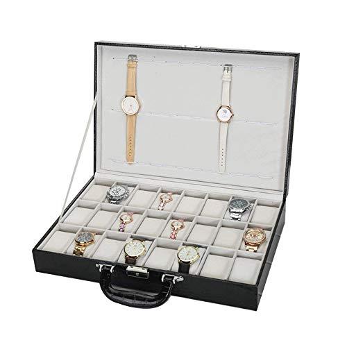 LSLS Caja joyero 24 Caja de Reloj Caja de Reloj Grande Caja de Vidrio Top Black Pantalla Organizador Faux de Cuero Organizador de Joyas