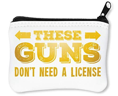 These Guns Don't Need A License Funny Yellow Western-Style Fashioned Slogan Billetera con Cremallera Monedero Caratera