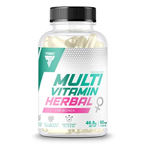 Trec Nutrition Multivitamin Herbal for Women Paquete de 1 x 90 Cápsulas - Multivitamin Herbal para Mujeres - Vitamina B6 - Ácido Fólico y Biotina - Resveratrol - Ortiga - Pimienta Negra